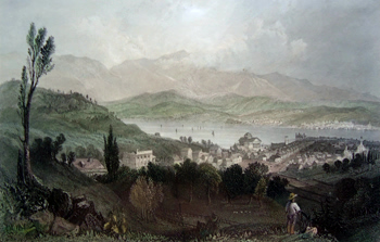 ANTIQUE PRINT: VIEW OF HUDSON CITY AND THE CATSKILL MOUNTAINS.