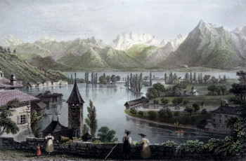 Antique print of Switzerland