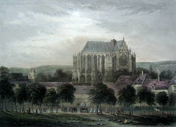 ANTIQUE PRINT: BEAUVAIS CATHEDRAL. WITH THE CHURCH OF ST. ETIENNE IN THE DISTANCE.