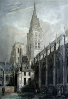 ANTIQUE PRINT: ROUEN CATHEDRAL. NORTH WEST VIEW FROM THE CLOISTER YARD.