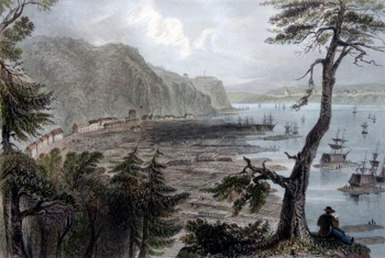 ANTIQUE PRINT: TIMBER DEPÔT NEAR QUEBEC.