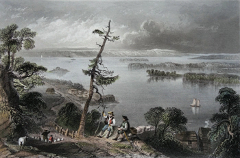 ANTIQUE PRINT: SCENE IN THE BAY OF QUINTE.
