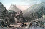 ANTIQUE PRINT: VALLEY NEAR OBERWESEL, - RHINE.