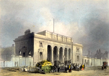 ANTIQUE PRINT: SOUTH WESTERN RAILWAY STATION, NINE ELMS.