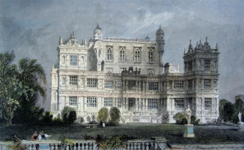 ANTIQUE PRINT: WOLLATON HALL, NOTTINGHAMSHIRE.