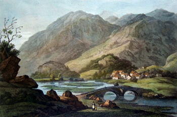 Antique print of the Lake District