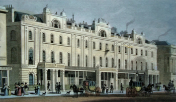 ANTIQUE PRINT: BUILDINGS ON THE EAST SIDE OF REGENT STREET.