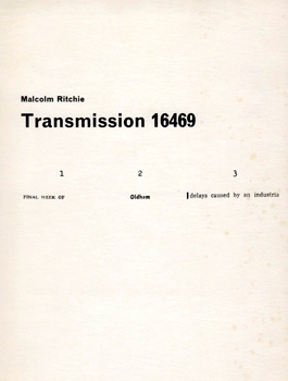 RITCHIE, Malcolm : TRANSMISSION 16469 : MADE FROM TRANSMISSIONS : 211268 61168 171068 WITH SENTENCEFRAGMENTSTREAMS FROM 8469 ...