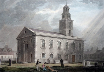 ANTIQUE PRINT: CHRIST CHURCH, BLACKFRIARS.