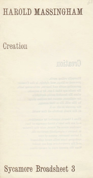 MASSINGHAM, Harold (Harold William), 1932-2011 : CREATION. SYCAMORE BROADSHEET 3.