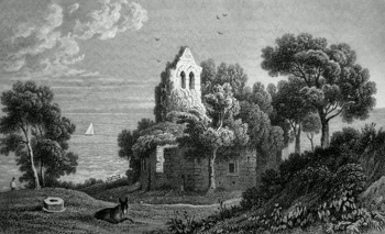 ANTIQUE PRINT: SUDBROOK CHAPEL ON CALDICOT LEVEL, MONMOUTHSHIRE.
