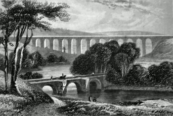 ANTIQUE PRINT: PONT-Y-CASULLTE AQUEDUCT. IN THE VALE OF LLANGOLLEN, DENBIGHSHIRE.