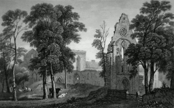 ANTIQUE PRINT: VALLE-CRUCIS ABBEY. DENBIGHSHIRE.
