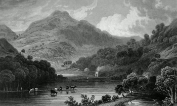 Antique print of Llangollen