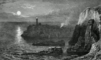 ANTIQUE PRINT: SOUTH STACK LIGHTHOUSE. NEAR HOLYHEAD.