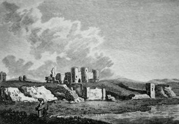 ANTIQUE PRINT: RHUDLAND CASTLE, FLINTSHIRE.