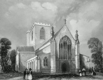 ANTIQUE PRINT: ST. ASAPH'S CATHEDRAL. WEST END.