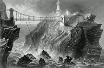 ANTIQUE PRINT: BRIDGE TO THE SOUTH STACK LIGHTHOUSE. (NEAR HOLYHEAD.)