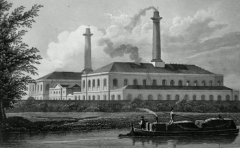 ANTIQUE PRINT: GAS WORKS, NEAR THE REGENT'S CANAL.