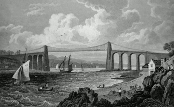 ANTIQUE PRINT: MENAI BRIDGE. (FROM THE ANGLESEA SIDE.) UNITING THE ISLE OF ANGLESEA WITH CAERNARVONSHIRE.