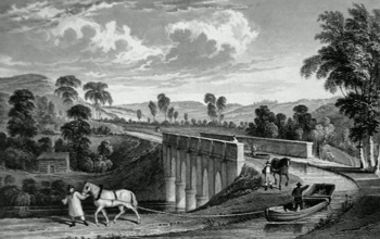 ANTIQUE PRINT: TORRIDGE CANAL, & ROLLE AQUEDUCT, NEAR TORRINGTON, DEVONSHIRE.