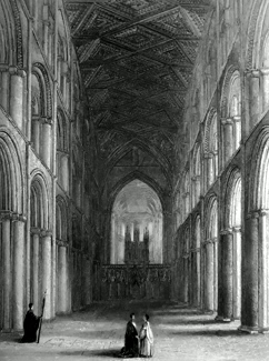 ANTIQUE PRINT: PETERBOROUGH CATHEDRAL. THE NAVE.