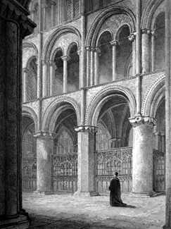 ANTIQUE PRINT: PETERBOROUGH CATHEDRAL. VIEW ACROSS THE NORTH TRANSEPT.