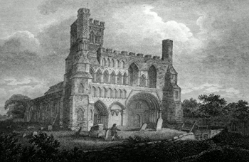 ANTIQUE PRINT: DUNSTABLE PRIORY, BEDFORDSHIRE.