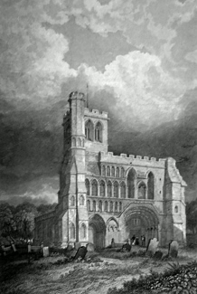 ANTIQUE PRINT: DUNSTABLE PRIORY CHURCH, (WEST FRONT.) BEDFORDSHIRE.