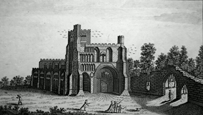 ANTIQUE PRINT: VIEW OF DUNSTABLE-PRIORY, IN BEDFORDSHIRE.