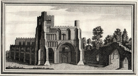 ANTIQUE PRINT: VIEW OF DUNSTABLE PRIORY IN THE COUNTY OF BEDFORD.