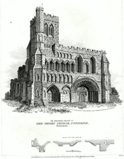 ANTIQUE PRINT: [DUNSTABLE] THE WESTERN FRONT OF THE PRIORY CHURCH, DUNSTAPLE, BEDFORDSHIRE.
