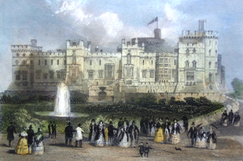 ANTIQUE PRINT: WINDSOR CASTLE, FROM THE TERRACE.