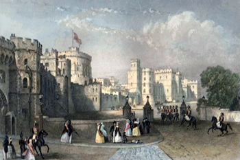 ANTIQUE PRINT: WINDSOR CASTLE. ENTRANCE FROM THE TOWN.