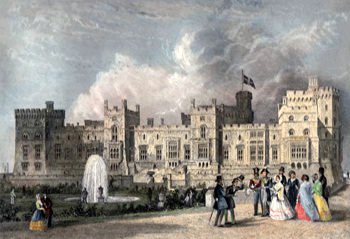 ANTIQUE PRINT: WINDSOR CASTLE. THE QUEEN'S PRIVATE APARTMENTS.