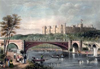 ANTIQUE PRINT: WINDSOR CASTLE. FROM VICTORIA BRIDGE.