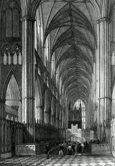 ANTIQUE PRINT: VIEW IN WESTMINSTER ABBEY FROM THE ALTAR.