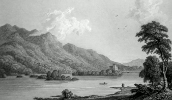ANTIQUE PRINT: LOWER LAKE OF KILLARNEY, ROSS CASTLE & ISLAND.