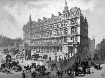 ANTIQUE PRINT: CANNON STREET RAILWAY STATION.