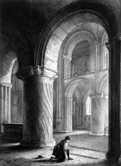 ANTIQUE PRINT: NORWICH CATHEDRAL. VIEW ACROSS THE NAVE.