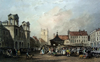 ANTIQUE PRINT: MORPETH, MARKET-PLACE.