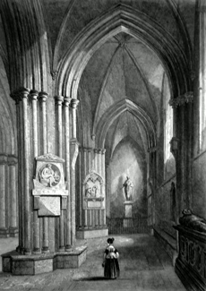 ANTIQUE PRINT: CHICHESTER CATHEDRAL. NORTHERN AISLE.
