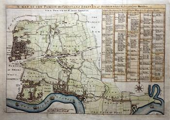 ANTIQUE MAP: A MAP OF THE PARISH OF ST DUNSTANS STEPNEY ALS. STEBUNHEATH DIVIDED INTO HAMLETS.