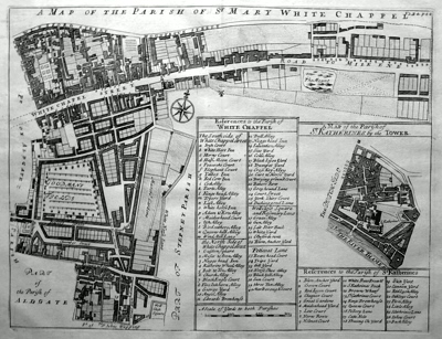 ANTIQUE MAP: A MAP OF THE PARISH OF ST MARY WHITE CHAPPEL.