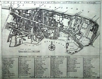 ANTIQUE MAP: A MAP OF THE PARISHES OF ST OLAVE AND ST THOMAS SOUTHWARK.