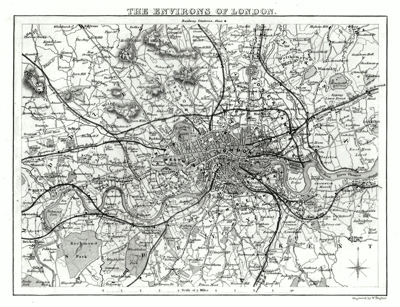 ANTIQUE MAP: THE ENVIRONS OF LONDON.