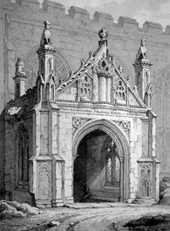 ANTIQUE PRINT: VIEW OF THE NORTH PORCH OF ST. MARY'S CHURCH, BURY-ST. EDMUNDS : – SUFFOLK.