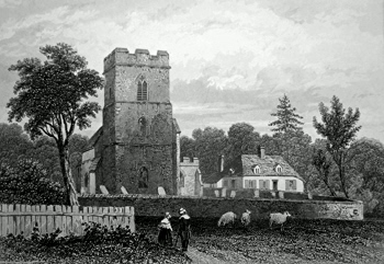 ANTIQUE PRINT: BIRTH-PLACE OF ROBT. BLOOMFIELD, HONINGTON, SUFFOLK.