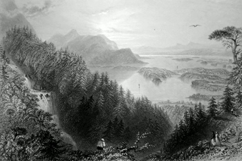 ANTIQUE PRINT: THE LOWER AND TURK LAKES, KILLARNEY. (FROM TURK WATER-FALL.)