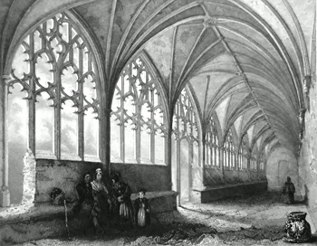 ANTIQUE PRINT: HEREFORD CATHEDRAL. THE CLOISTERS.
